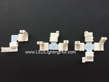10mm 3 Conductor Gapless Angle Solderless Strip Connector,  L/T/X shape Available