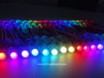 12mm Diffused Digital RGB Bullet Pixels, WS2811/UCS1903, DC 5V, Strand of 50