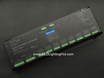 24 Channel RGB 8 Group LED DMX Decoder, 12-24VDC, 5A/CH, RJ45, 5-pin XLR Output
