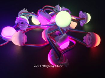 30mm Digital RGB LED Pixel Dome Light, WS2801/UCS1903/DMX Control IC, DC12V, Strand of 20