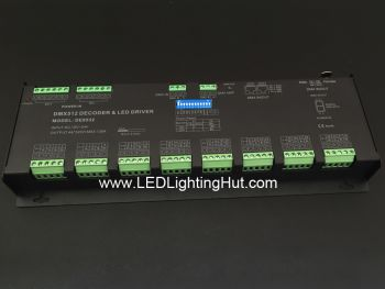 32 Channel RGBW 8 Group LED DMX Decoder, 12-24VDC, 4A/CH, RJ45, 5-pin XLR Output