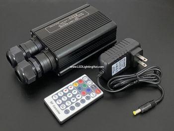32W Dual Port DMX RGBW LED Fiber Light Engine w/ Remote