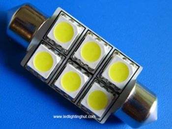 42mm 6 SMD LED Festoon Dome Bulb, 1 3/4 Inches (2 pack)