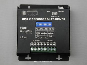 4 Channel RGBX LED DMX Decoder, 10A/CH, RJ45/XLR Output