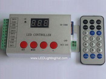 4 Port SD Card Digital Pixel Controller w/  IR Remote, 6144 Pixels, 5V-24V