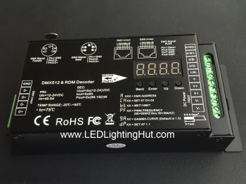 Flicker Free 5 Channel RGBWA DMX512 Decoder, 12-24VDC, 8A/CH, RJ45, 5-pin XLR in/out Ports