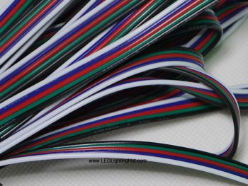 5 Conductor 22AWG Wire Power Wires for RGBW Strip, Sold by Meter