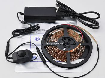 Single Color Flex LED Strip Kit, Knob Dimmer and Power Supply Included