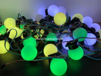 60mm Surface Mountable Digital Sphere Ball Light, WS2811 Signal, DC 12V, Strand of 40