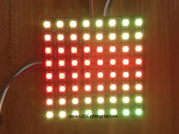 8x8 WS2812B Digital Intelligent RGB Flexible LED Matrix (Panel) , DC5V Input