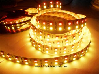 Double Row RGBWW (RGB+Warm White) SMD5050 LED Strip, 600 LEDs/Reel, 5 Meters, 24V DC