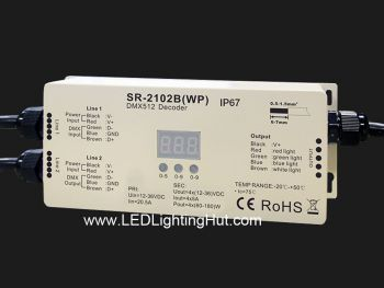 IP67 Outdoor Rated DMX 512 RGBW RGBA 4 Channel DMX Decoder, 5A/CH, 12-24 VDC