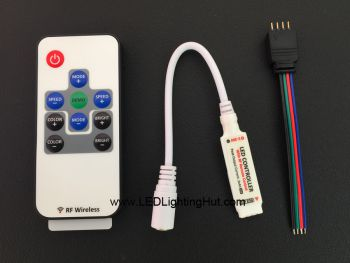 Mini RGB Controller with RF Remote, 5-24VDC, 4A/CH