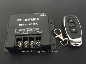 Single Color LED Dimmer with RF Remote, 12-24V, 30A