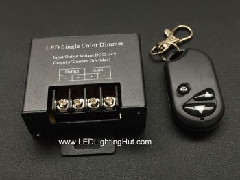 Single Color LED Strip Dimmer with RF Remote, 20A, 12-24VDC