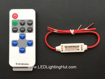 Single Color Mini Inline LED Dimmer with RF Remote, 4A, 5-24V DC