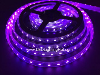 Ultraviolet 380-385 nm UV LED Strip Light, 60 SMD5050 LEDs/M, 5M/reel