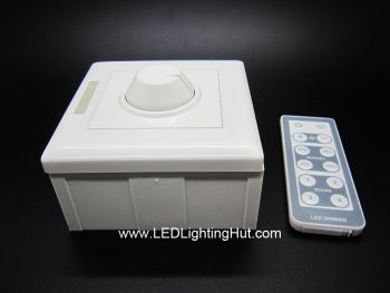 Wall Mount PWM LED Dimmer with IR remote, 12-48V DC, 6A