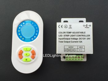 White Adjustable LED Dimmer with RF Touch Remote, 12V-24V DC